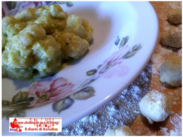 Gnocchetti al pesto di zucchine da vicino