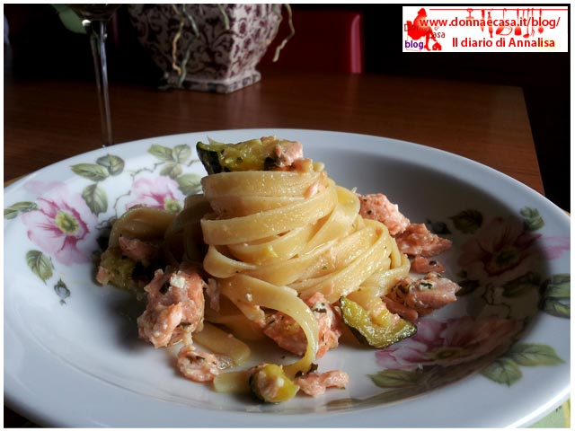 Salmon trout and Zucchini pasta image 4