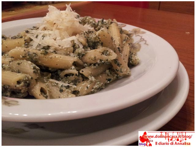 Penne with chard and ricotta cheese