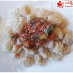 Water Potato dumplings with vegetable sauce