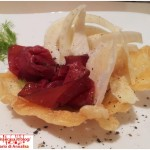 Little basket of bresaola carpaccio with parmesan and fennel