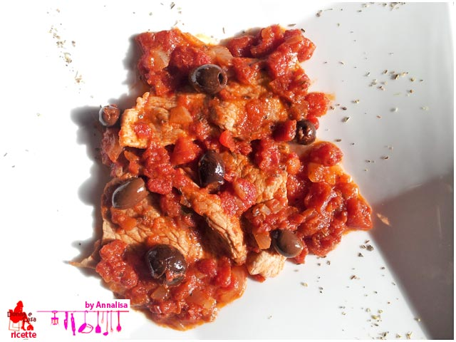 Meat with tomato sauce plate