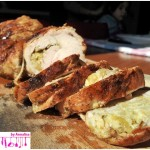 Rolled turkey stuffed with artichoke cream