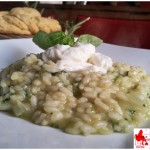 rice with basil cream and burrata