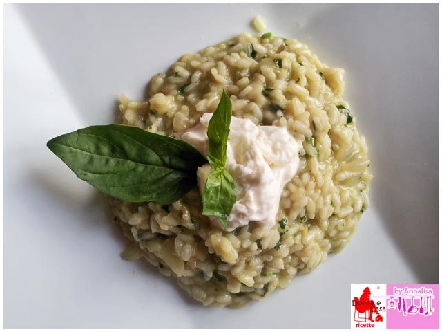 rice with basil cream and burrata photo 2