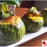Round zucchini stuffed yellow rice
