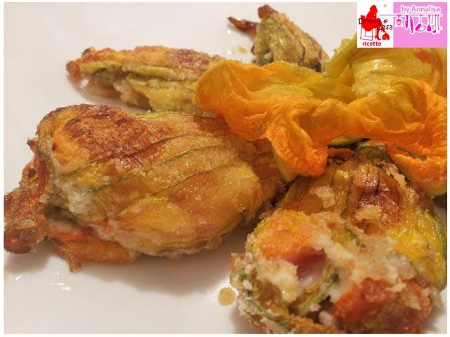 Zucchini flowers stuffed baked
