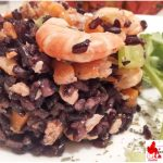 Black rice with shrimp salmon