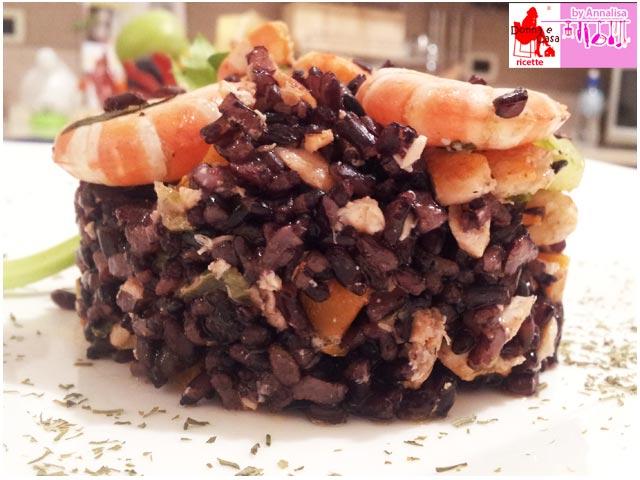 riso venere salmone gamberi