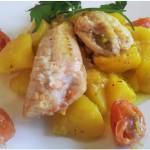Gallinella di mare con patate alla zafferano