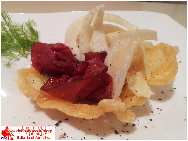 Basket of bresaola carpaccio with parmesan and fennel