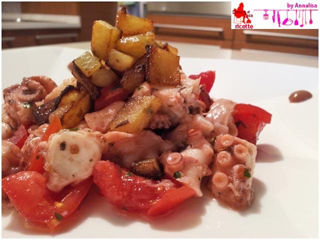 insalata di polipo e patate croccanti primo piano