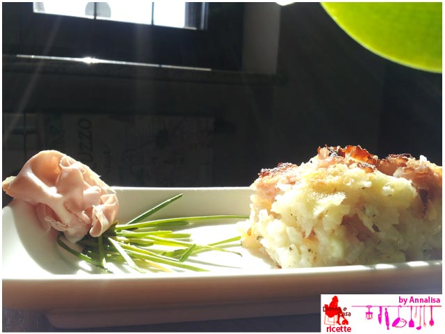 Ham and cheese timbale of rice
