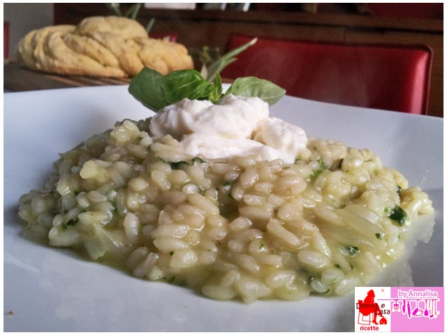 rice with basil cream and burrata
