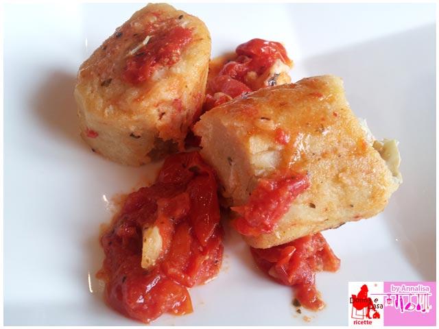 Potato dough with ham artichokes