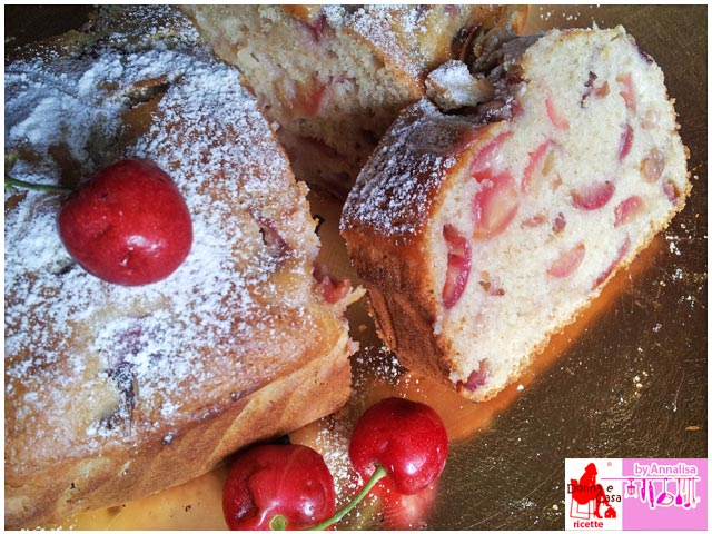 plum cake with cherries
