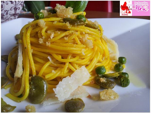 spaghetti fave piselli zafferano