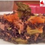Riso venere con zucca salsiccia  e broccoli